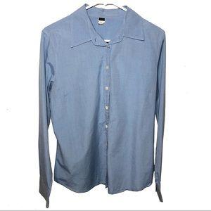 J Crew Slim Fit Button Down Shirt Large Blue